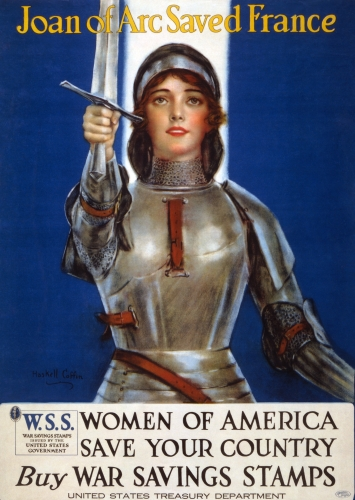 detail of the World War I War Stamps lithograph featuring Joan of Arc; by Haskell Coffin, 1918; restored by the Library of Congress; swiped from Wikimedia Commons; click for source image