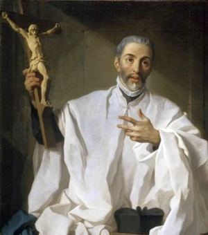 detail of a portrait of Saint John of Avila by Pierre Subleyras, 1746