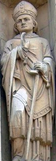 statue of Saint John of Beverley; date and artist unknown; Minster, Beverley, East Riding of Yorkshire, England; photographed on 10 June 2002 by Graham Hermon; swiped from Wikimedia Commons; click for source image
