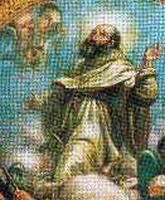 detail of an 18th century Italian painting of Saint John of Pulsano, artist unknown; swiped from Santi e Beati; click for source image
