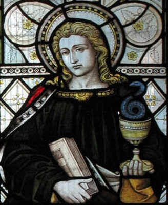 detail of a stained glass window of Saint John the Apostle; date and artist unknown; church of Saint George, Castle Way, Hanworth, England; photographed on 10 December 2004 by John Salmon; swipe from Wikimedia Commons; click for source image