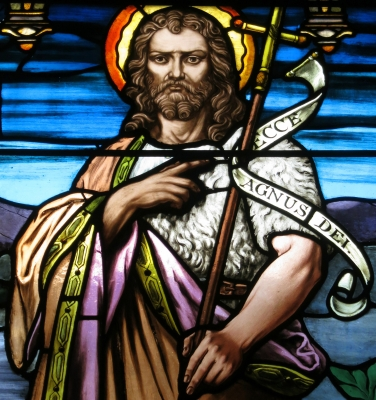 detail of a stained glass window of Saint John the Baptist, date and artist unknown; Church of Saint Paul, Yellow Springs, Ohio; photographed on 24 December 2015 by Nheyob; swiped from Wikimedia Commons; click for source image