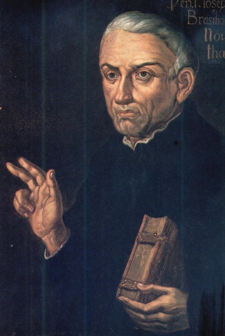 detail of an 18th-century oil painting of Saint José de Anchieta, artist unknown; currently in the Museu Paulista, University of São Paulo, Brazil; swiped from Wikimedia Commons