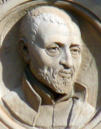 detail of a bas-relief of San José de Calasanz; date and artist unknown; school of Gascón y Marín, Zaragoza, Spain; photographed on 27 December 2009 by Ecelan; swiped from Wikimedia Commons; click for source image