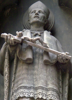 detail of a state of Saint Josep Oriol; c.1900, artist unknown; Barcelona, Spain; photographed on 11 May 2008 by Bocachete; swiped from Wikimedia Commons; click for source image