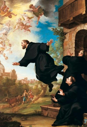 detail of the painting 'S. Giuseppe da Copertino si eleva in volo alla vista della Basilica di Loreto'; 18th century by Ludovico Mazzanti; Church of Saint Joseph of Cupertino, Osimo, Italy; swiped from Wikimedia Commons; click for source image