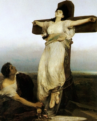 detail of a painting of Saint Julia; painting sometimes listed as 'Crucified Martyress'; 1866 by Gabriel von Max; Galerie Marold, Prague, Czech Republic; swiped from Wikimedia Commons; click for source image