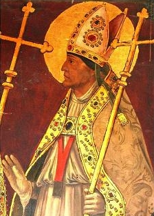 detail of a portrait of Saint Julian of Toledo; by Juan de Borgona, 16th century; Sala Capitular, Cathedral of Toledo, Spain; swiped from Wikimedia Commons