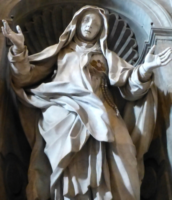 statue of Saint Juliana Falconieri; Pietro Paolo Campi, date unknown; Basilica of Saint Peter, Vatican City, Rome, Italy; photographed on 25 May 2013 by Christoph Wagener; swiped from Wikimedia Commons; click for source image
