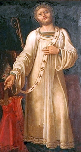 detail of a painting of Saint Justus of Lyon putting aside the trappings of his episcopate; 19th century, attributed to Jean-Louis Lacuria; church of Saint-Just, Lyon, France; swiped from Wikimedia Commons