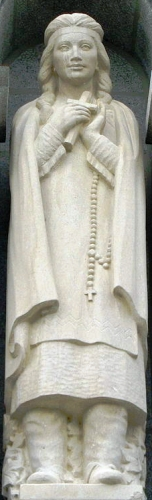 statue of Saint Kateri Tekakwitha of Quebec, date and artist unknown; photographed on 8 July 2008 by LovesMacs; swiped from Wikimedia Commons