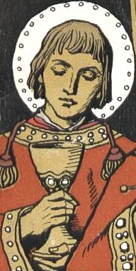 detail from a commemorative event card showing Saint Kilian, Saint Totnan and Saint Kolonat; by Matthäus Schiestl, 1907; swiped from Wikimedia Commons; click for source image