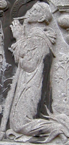 detail of a bas-relif of Saint Landelin; date and artist unknown; exterior wall of the Abbey of Aulnes, France; photographed in August 2008 by Grentidez; swiped from Wikimedia Commons