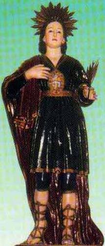 reliquary statue of Saint Laureatus in Castelpoto, Italy, date and artist unknown; swiped from Santi e Beati