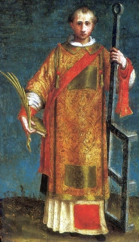 detail of a painting of Saint Lawrence of Rome; early 16th century by Creator:Francesco Rizzo da Santacroce; Museum of John Paul II Collection, Warsaw, Poland; swiped from Wikimedia Commons; click for source image