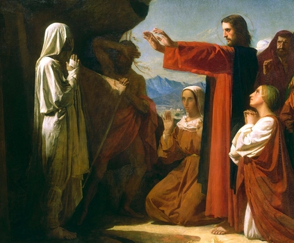 detail of the painting 'The Raising of Lazarus'; by Léon Bonnat, 1857; swiped from Wikimedia Commons; click for source image