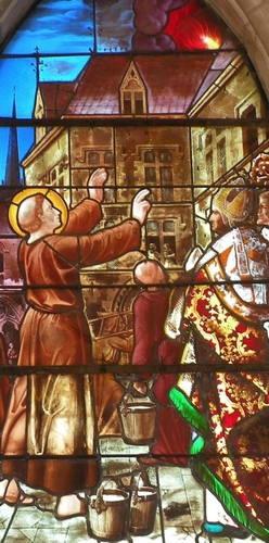 detail of a stained glass window of Saint Leobinus of Chartres saving Paris by extinguishing a fire by prayer; date and artist unknown; Church of Saint Leobin, Goincourt, Oise, France; photographed on 19 September 2009 by Chatsam; swiped from Wikimedia Commons; click for source image