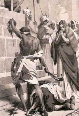 detail from Martyrdom of Saint Leocricia and Saint Eulalia of Cordoba, by Josep Segrelles, plate for Historia de España, c.1910; swiped off Wikimedia Commons