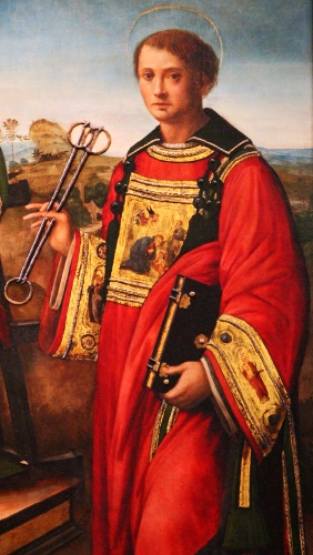 portrait of Saint Leonard of Noblac from the painting 'Saint Laurent between Saint Stephen and Saint Leonard' attributed to Raffaellino del Garbo, early 16th century; basilica of San Lorenzo, Florence, Italy; swiped from Wikimedia Commons