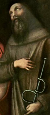 detail from 'Saint Peter, Saint Martha, Saint Mary Magdalene, and Saint Leonard', by Corregg