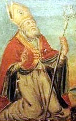 detail of a painting of Saint Leucius of Brinidisi; 1780 by Oronzo Tiso; swiped from Wikimedia Commons; click for source image