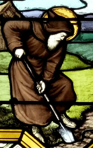 detail of a stained glass window of Saint Leutfridus living in solitude; date and artist unknown; Catholic parish church Cœur-Immaculé-de-Marie, Suresnes, France; photographed on 2 April 2011 by Reinhardhauke; swiped from Wikimedia Commons; click for source image