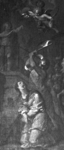 detail of the painting 'Beheading of Saint Libaire' by J. de Senemont, c.1777; church of Sainte-Libaire, Rambervillers, Vosges, France; photographed on 6 May 2011 Ji-Elle; swiped from Wikimedia Commons