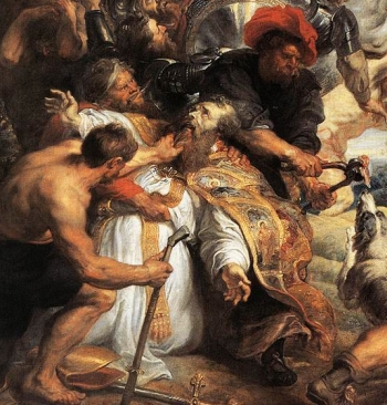 detail from the painting 'The Martyrdom of Saint Livinus'; by Pieter Pauwel Rubens, 1633; Musées Royaux des Beaux-Arts, Brussels, Belgium; swiped from Wikimedia Commons; click for source image