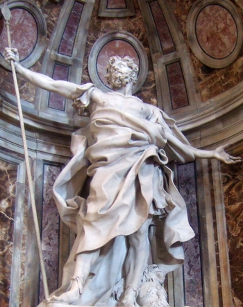 detail of the statue 'Saint Longinus the Centurian'; by Gian Lorenzo Bernini, 1631-1638; Basilica di San Pietro, Vatican City, Rome, Italy; photographed on 23 October 2008; swiped from Wikimedia Commons; click for source image