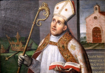 detail of a painting of Saint Louis of Anjou; oil on wood by Vincente Carducci, date unknown; Musée d'Histoire, Marseille, France; photographed on 28 June 2013 by Rvalette; swiped from Wikimedia Commons; click for source image