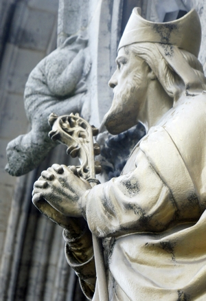 detail of a statue of Saint Loup of Troyes; date