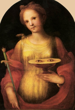 detail of a painting of Saint Lucy; oil on panel, 1521, by Domenico di Pace Beccafumi; Pinacoteca Nazionale di Siena, Italy; swiped from Wikimedia Commons; click for source image