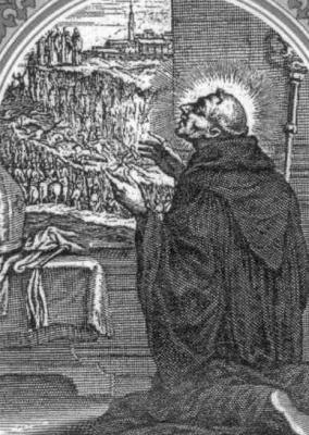 detail from an antique holy card of Saint Luke Casali