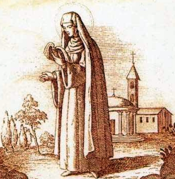 detail of a Saint Macrina the Younger holy card, date and artist unknown; swiped from Santi e Beati