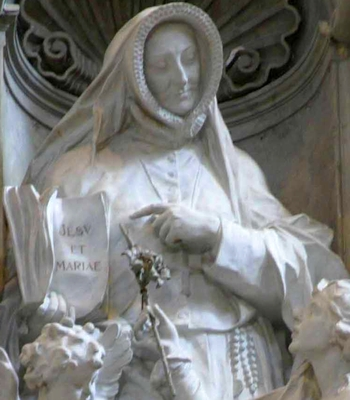 detail of a statue of Saint Sophie Barat; 1934 by Enrico Quatrini; Saint Peter's Basilica, Vatican City, Rome, Italy; swiped from Wikimedia Commons; click for source image