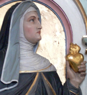 detail statue of Saint Margaret Mary Alacoque, church of Saint Gordian and Saint Epimachus, Merzhofen, Germany, 1896, by Peter Paul Metz; photograph taken in May 2009 by Andreas Praefcke; swiped off Wikipedia; click for source image