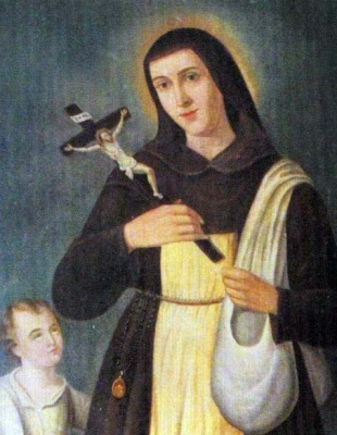 detail of a holy card of Saint Marina / Marino, date and artist unknown; swiped from Santi e Beati; click for source image