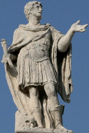 statue of Saint Marinus of Anzarba, c.1668, artist unknown; colonnade of Saint Peter's Basilica, Rome, Italy
