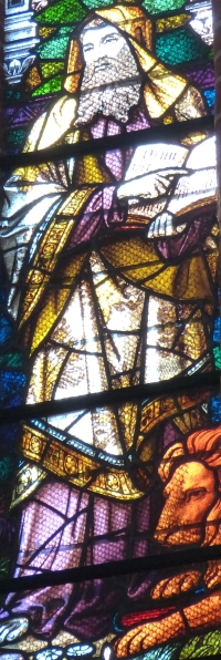 detail of a stained glass window of Saint Mark the Evangelist; 1899, artist unknown; Schwerin Cathedral, Mecklenburg, Germany; photographed on 19 July 2014 by Wolfgang Sauber; swiped from Wikimedia Commons; click for source image