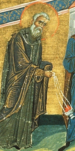 detail from a miniature of the Menology of Basil II, c.985, artist unknown; Vatican Library, Rome, Italy; swiped from Wikimedia Commons