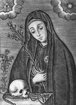 detail of an engraving of Saint Mariana de Jesus of Quito; 1732 by Francisco Sylverio de Sotomayor; swiped from Wikimedia Commons; click for source image