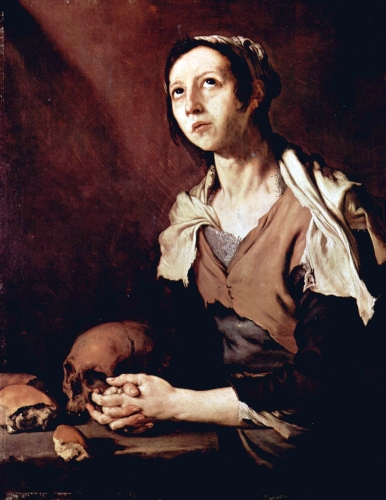 painting of Saint Mary of Egypt by Jose de Ribera, 1651, Museo Civico Gaetano Filangieri, Naples, Italy; photographed on 28 July 2015 by Luis Fernández García; swiped from Wikimedia Commons