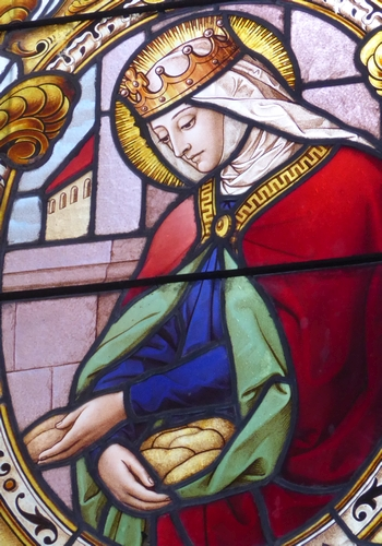 detail of a stained glass window of Saint Mathilde, south side chapel, Church of Saint Pancratius, Kirnberg an der Mank, Lower Austria, date and artist unknown; photographed on 17 June 2016 by BSonne; swiped from Wikimedia Commons