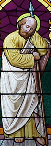 Saint Matthias stained glass window at Immaculate Conception church, Earlington, Kentucky, USA; artist unknown; thanks Father Martin