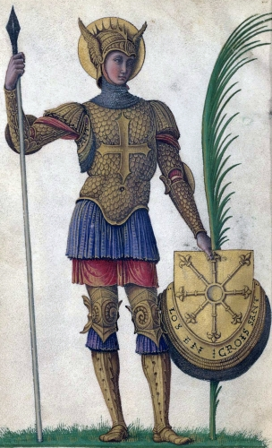 detail of a miniature of Saint Maurice in an illuminated manuscript edition of 'Passion de saint Maurice et de ses compagnons de Jacopo Antonio Marcello' by Giovanni Bellini, c.1453; currently in the Bibliothèque de l'Arsenal, Paris, France; swiped from Wikimedia Commons