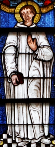 detail of a stained glass window of Saint Maurice of Carnoet, late 15th century, date unknown; 2nd bay of the nave in the Saint-Corentin cathedral, Quimper, France; photographed on 25 July 2013 by Thesupermat; swiped off Wikimedia Commons