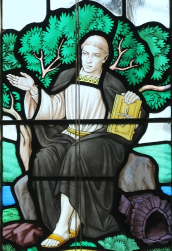 detail of a stained glass window of Saint Mawes teaching his disciples; date and artist unknown; photographed on 2 October 2015 by Andrewrabbott; swiped from Wikimedia Commons; click for source image
