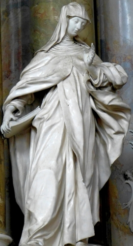 detail of a statue of Saint Mechtilde of Hackeborn by Johann Georg Üblhör, date unknown; altar of Saint John of Nepomuk, monastery church, Engelhartszell, Upper Austria, Austria; photographed on 27 September 2015 by Wolfgang Sauber; swiped from Wikimedia Commons; click for source image