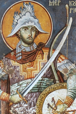 detail of a fresco of Saint Mercury and Saint Artemia, by Manuel Panselin, c.1300, Mount Athos, Greece; swiped off Wikimedia Commons