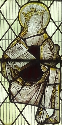 detail of a medieval stained glass window of Saint Modwen, artist unknown; Whittington, England; photographed on 14 August 2017 by RwthTomos1948; swiped from Wikimedia Commons